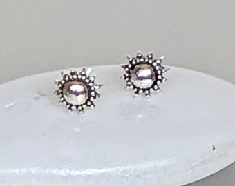 Silver Sun Studs, Tiny Earings, Minimalist Ear Studs, Silver Ear Studs, Gifts For Her, Pretty Ear Studs (E194)