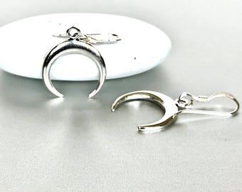 Crescent Silver Earrings , Sterling Silver Ear Danglers , Minimal Silver Hoops, Pretty Silver Hoops, Piercing Hoops, Gift Ear Hoops  (E200)