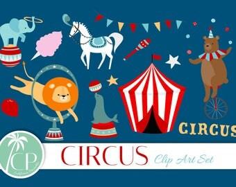 50% OFF SALE!  Circus Clip Art Set - Set of 23 - Circus Illustration - Circus Animal Clip Art - Carnival Clip Art - Scrapbook