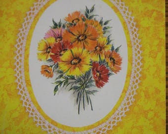 A Get Well Card Yellow Bouquet of Flowers Sunshine vintage 70s or 80s unused paper ephemera