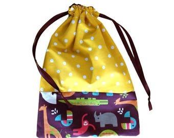 bag snack zoo Brown and yellow polka dot print cotton DrawString