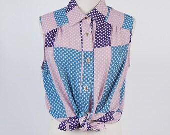 Vintage Rectangle Print Flat Collar Sleeveless Blue Pink Violet Vintage Blouse Size M