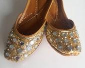 Gold Slip On Ballet Flats with Mirrors US Size 7 - Punjabi Jutti, Indian Jutti, Indian Wedding Shoes, Punjabi Juti, Gold Flats, Gold Shoes
