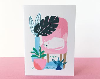 A6 Curious Cat with Plants Greeting Card
