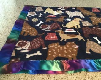 Handmade fleece pet blanket with satin trim