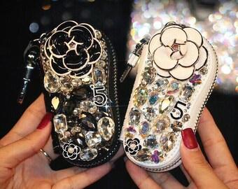 Lovely Luxury Beautiful Rose Flower Pearl Teardrop Crystal Key Holder Chain Bag, for Car Key Rings or Bag/Handbag/Purse