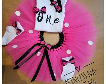 First Birthday tutu set - Cake smash - Pink tutu - 1st Birthday Girl Outfit - Birthday Princess - Pink and Black tutu - Glitter Party Dress
