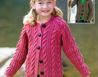 Vintage 'Hayfield 2370' children's knit cardigans pattern in pdf