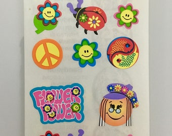 Vintage Sandylion Groovy Stickers. Peace, Ladybugs, Flowers, Smiley Faces. Receive 3 squares