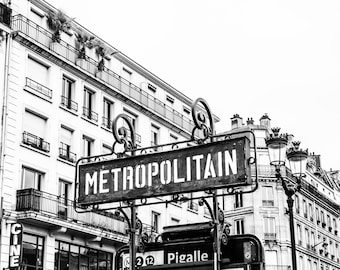 Pigalle BW Photography - Paris Photography - Wall Art Print - Paris Decor - Black and White - Fine Art Photography - Metropolitain BW - 0098