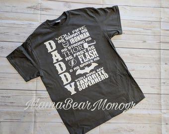 Daddy superhero shirt, father's day shirt, father's day present, superhero dad shirt, superhero daddy shirt, super dad shirt