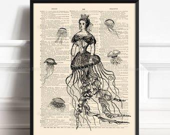 Jellyfish Wall Decor, Jellyfish Poster, Greek Mythology, Girlfriend Xmas Gift, Funny Bathroom Art, Cute Gift Art Print Marine Wall Decor 206