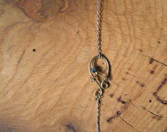 Bracelet Obsidienne Mouchetée. Chaîne en Argent 925.