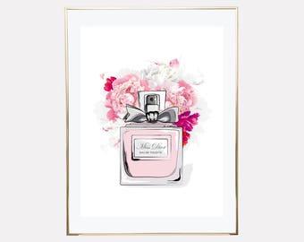 perfume bottle poster prints, perfume wall art, print at home perfume, perfume flower prints, printable wall art, downloadable prints