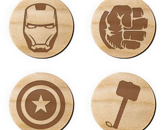 The Avengers Engraved Birch Coasters