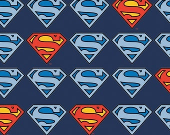 DC Comics Superman Logo Flannel from Camelot Fabrics, Cotton, rag quilt, blue and red, super hero, by the, metre, yard