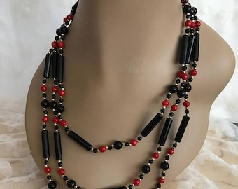 Winter Sale Vintage Lucite Black, Red and Gold 3 Strand Lucite Beaded Necklace / Retro Necklace / Costume Jewelry