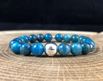 Blue Apatite Healing Throat Chakra Bracelet Silver Sterling 925 Solid Gemstone Stacking 18cm 353