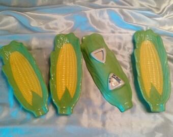 Handmade Vintage 1981 Ceramic Corn Dishes/Holders Set Of 4