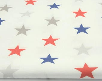 Fabric 100% cotton half a metre (50 x 160 cm), 100% cotton Navy Blue and red stars 4cm