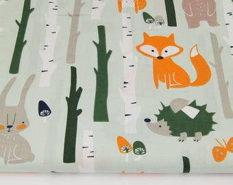 Cotton Fabric, Tissu renard, ours, écureuil, lapin, hérisson, 100% coton imprimé 50 x 160 cm, forêt, automne, fond vert menthe clair mint