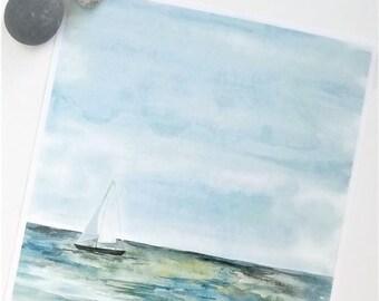 Printable Sailboat Watercolor Art, DIGITAL PRODUCT, Boat on the Water at Sunset, Art Print, Downloadable, 8 x 8 Inches, Ocean Art, Lake Art