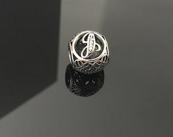 Pandora Letter J Vintage Bracelet Sterling Silver Charm S925