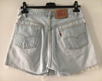 Levis 501 High Waisted Shorts Size 31/36 Light Wash