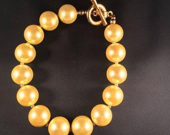 Yellow Swarovski pearl bracelet 018