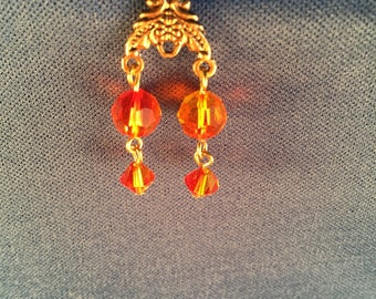 Gold and fire opal Swarovski crystal earrings 028