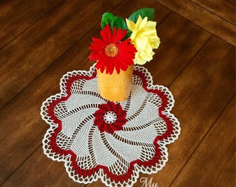 Crochet Pinwheel Doily - Rustic Table Centerpiece - French Country Decor - Housewarming Gift - Coffee Table Decor - Red Pinwheel Doily