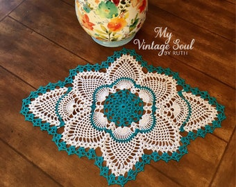 Teal Custom Doily - Crochet Lace Doily - Wedding Gifts - Farmhouse Decor - Rustic Home Decor - Coffee Table Doily - Custom Doily