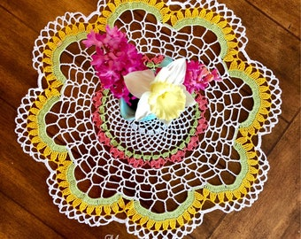 Rustic Lace Doily - Spring Decor - Crochet Flower Doily - Vintage Home Decor - Coffee Table Doily - Pineapple Doily - Housewarming Gift