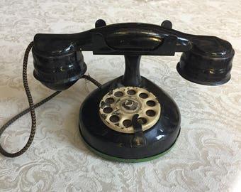 Vintage METAL TOY TELEPHONE, Black metal, Kids Phone, Antique Phone, Mid Century  Vintage Prop .... Charming Vintage Metal Toy for Display!