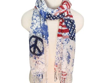 American Flag Scarf, Vintage American Flag Scarf, Flag Scarf, Peace Scarf