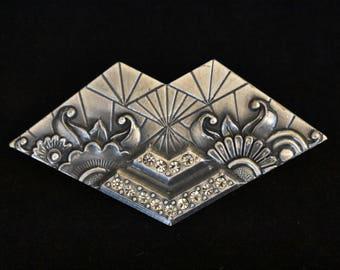 "Vintage Geometric Duri Art Deco Revival Floral Statement Brooch Rhinestone Coat Sweater Pin Silver Tone Retro Costume Jewelry 2.25"""