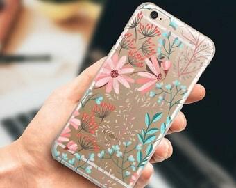 Case iPhone 7 Plus clear Floral iPhone 7 case, iPhone 6 Plus Case, iPhone 6 case, iPhone 5, 5s, se Case.