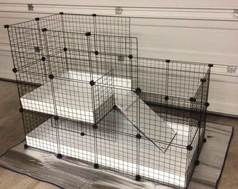 "Large indoor RABBIT CAGE hutch 2x4 - 2x2 CC extra tall walls 14""x14"" Wire Grid Panel Cage with Corrugated Plastic 4 Panels Long 2 Panels"