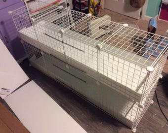 "1x4 bottom 1x4 top CC Guinea Pig Cage 14""x14"" Wire Cage with liner / french doors -  Rabbit Hedgehog 4 Panels Long 1 Panels Wide loft"