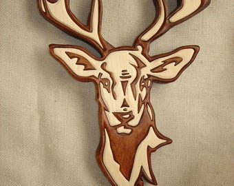 Wooden deer,  Deer Wall Hanging,  Wallhanging,  Deer decor,  Deer art,   Woodland art