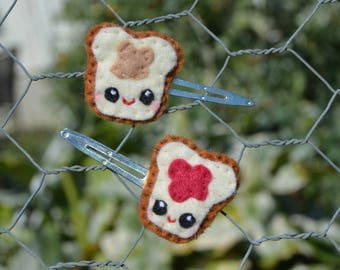 Peanut Butter and Jelly Sandwich Hair Clips