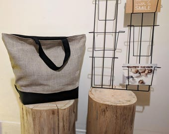 Tote bag size XL in linen and faux leather