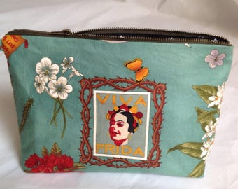Turquoise Frida kahlo fabric Bag for toiletries, cosmetics or makeup
