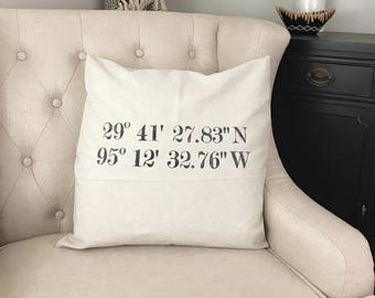 GPS Coordinates Pillow - Coordinates Decor - Latitude Wedding Longitude - Engagement Latitude - Honeymoon Memento - New Farmhouse Pillow
