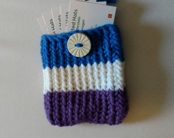 Card Carrier - Business Card Case - Gift Card Holder - Card Holder - Card Wallet - Credit Card Wallet (Blue White & Purple)