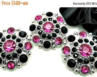 20% SALE HOT PINK & Black Rhinestone Buttons Dress Coat Buttons Large Vintage Style Silver Acrylic Rhinestone Buttons Garment Buttons 28mm 5