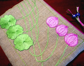 "Kit, linen dress handkerchief ""lotus"" hand embroidered Art Nouveau pattern."