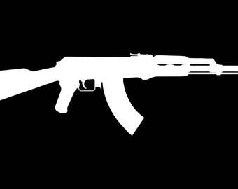 White Vinyl AK47 sticker