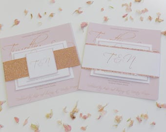 Rose Gold and Blush Wedding Invitation set, Wedding Invite, RSVP, Guest Information, Glitter