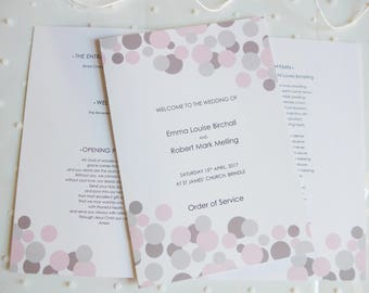Modern Wedding Order of Service, Pink and Grey, Eight Pages